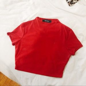 Mock Neck Red Crop Top